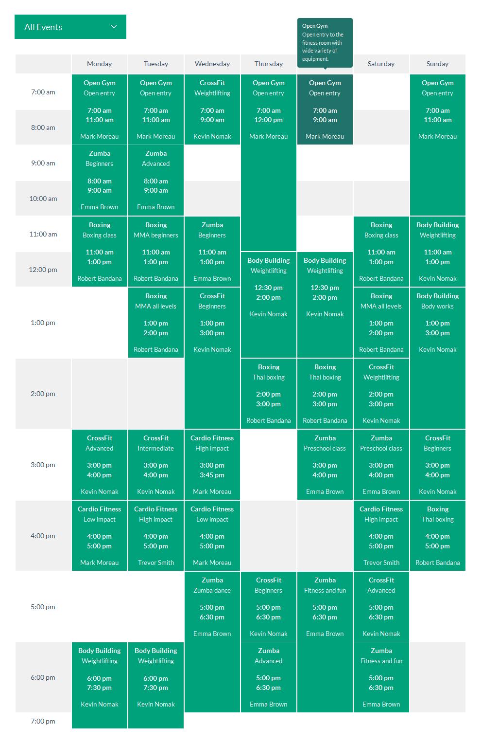 افزونه Timetable Responsive Schedule For Joomla